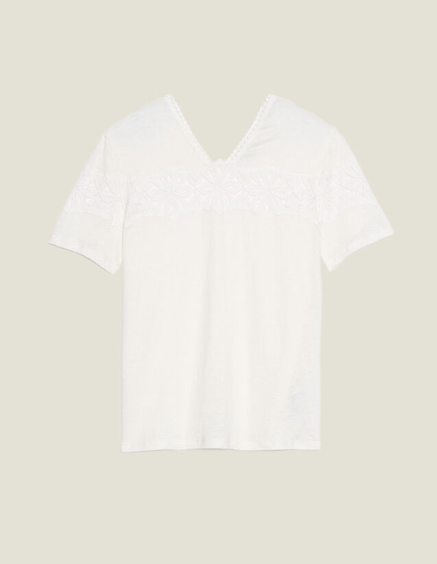 T-Shirt En Lin Avec De La Dentelle : LastChance-CH-FSelection-Pap&Access couleur Ecru