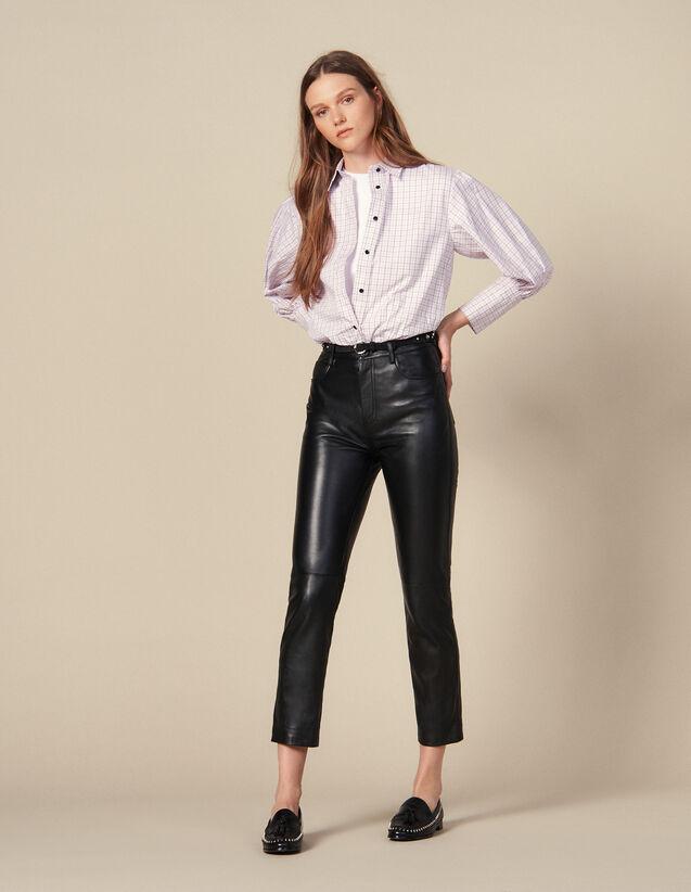 Pantalon En Cuir Droit À Découpes : Pantalons couleur Noir