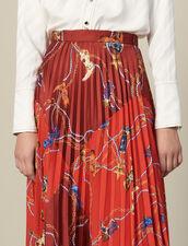 Gonna Lunga Plissettata E Stampata : Gonne & Short colore Rosso