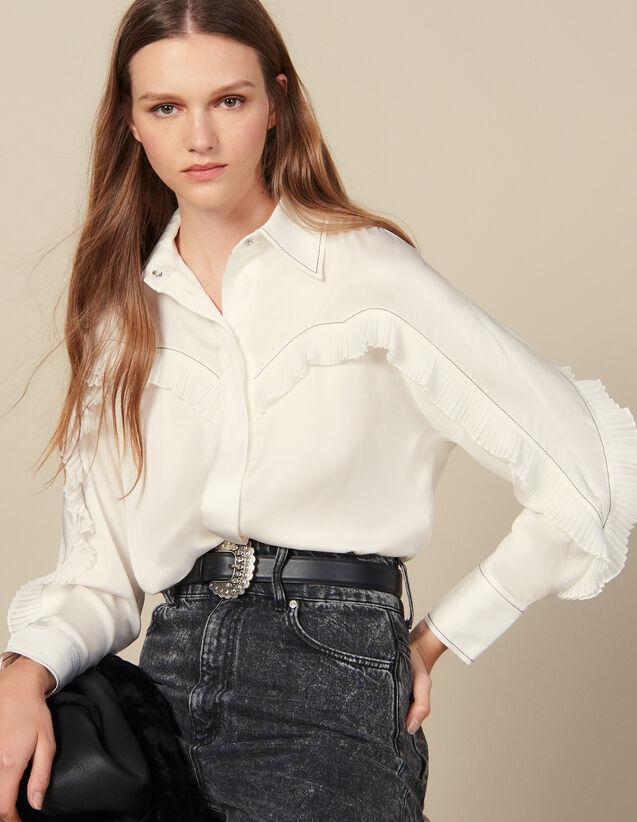 Camicia Con Inserti Western : FBlackFriday-FR-FSelection-Tops&Chemises colore Ecru