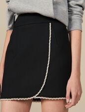 Gonna corta ornata da perle : LastChance-ES-F40 colore Nero