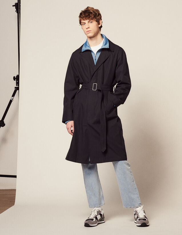 Trench-Coat Long En Coton : LastChance-FR-H60 couleur Marine