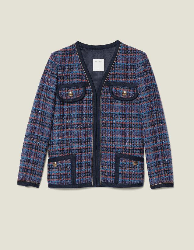 Veste en tweed à carreaux : Blousons & Vestes couleur Multicolore