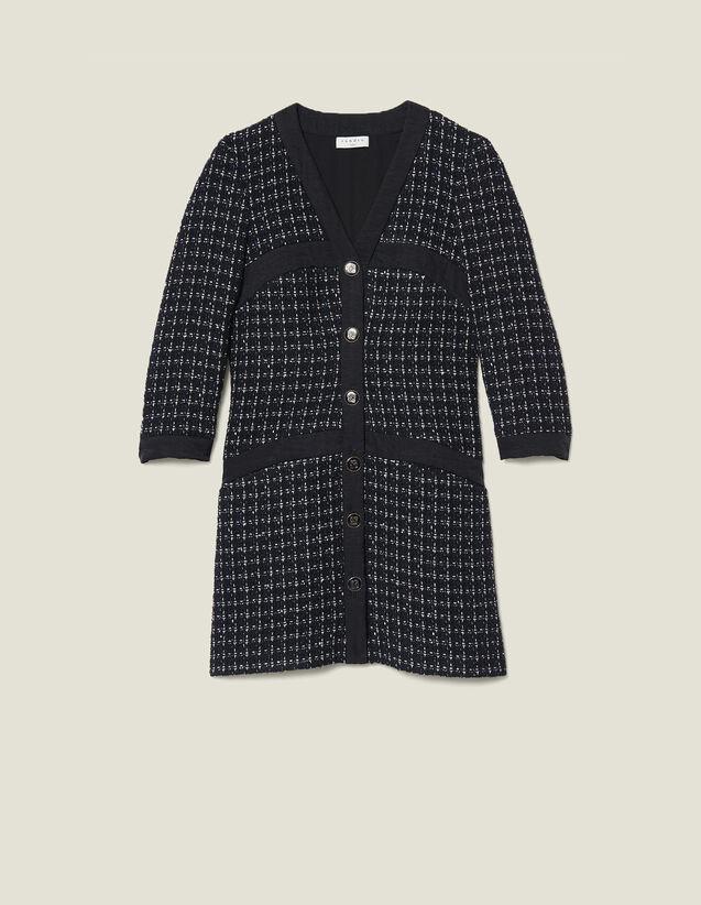 Abito cappotto corto in tweed : SOLDES-ES-FSelection-Robes-3DEM colore Blu Marino