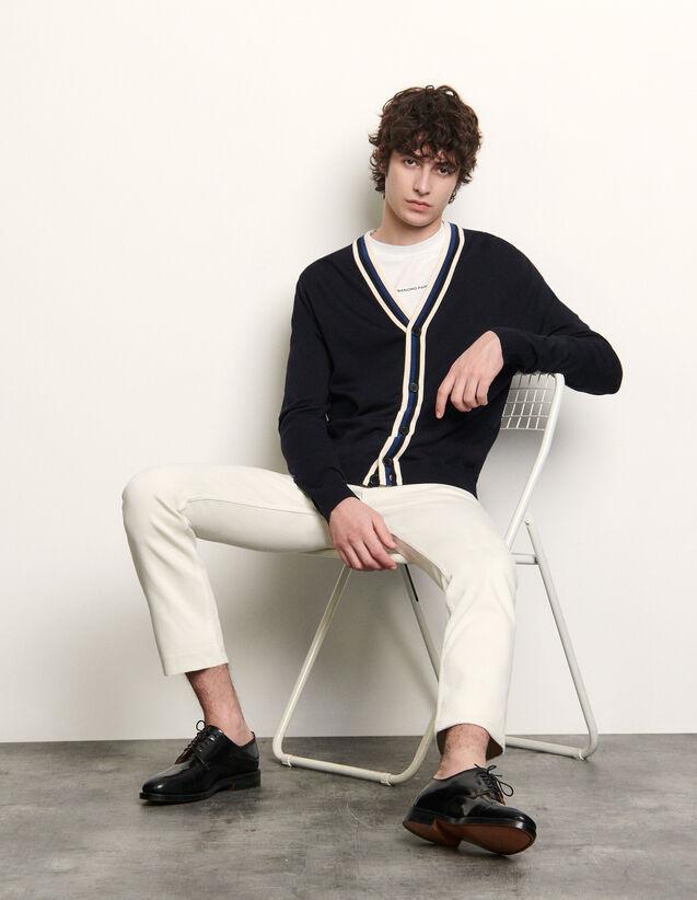 Cardigan abbottonato con decoro a righe : Maglioni & Cardigan colore Blu Marino