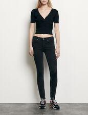 Top court en maille côtelée : Tops & Chemises couleur Noir