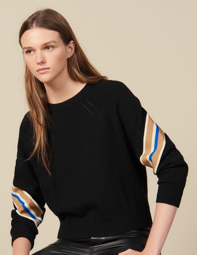 Pull À Large Galon Rayé : Pulls & Cardigans couleur Noir