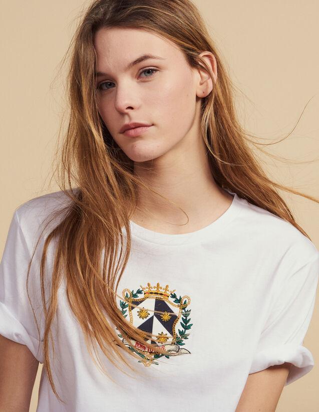 T-Shirt Corta Con Ricamo : null colore Bianco