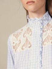 Camicia a quadri con collo alto : Top & Camicie colore Ecru