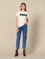 T-Shirt Con Scritta In Tweed : Tutti le Confezione colore Bianco