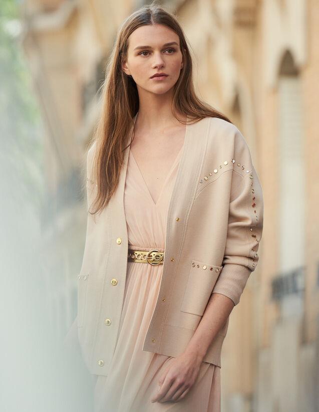 Cardigan-cappotto ornato da borchie : Maglieria & Cardigan colore Carne