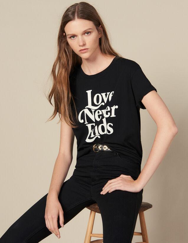 T-Shirt Con Scritta A Contrasto : Magliette colore Nero