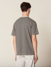 T-Shirt A Scacchi In Cotone : Sélection Last Chance colore Nero