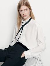Chemisier en soie avec ruban : Tops & Chemises couleur Ecru