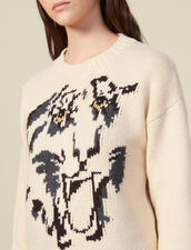 Pullover girocollo con motivo tigre : FBlackFriday-FR-FSelection-30 colore Ecru