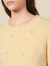 Pullover girocollo con strass : Maglieria & Cardigan colore Giallo