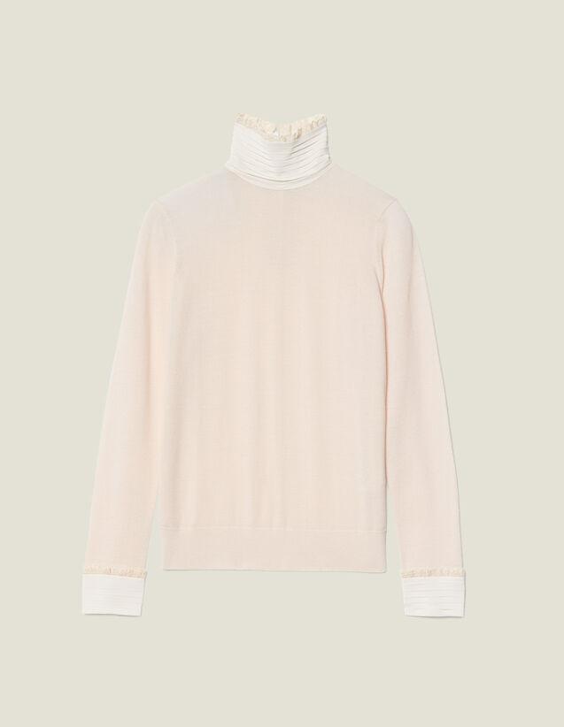 Pullover A Collo Alto Con Seta Plissé : Maglieria & Cardigan colore Nudo