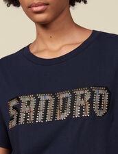 T-shirt à inscription bordée de studs : LastChance-ES-F50 couleur Marine