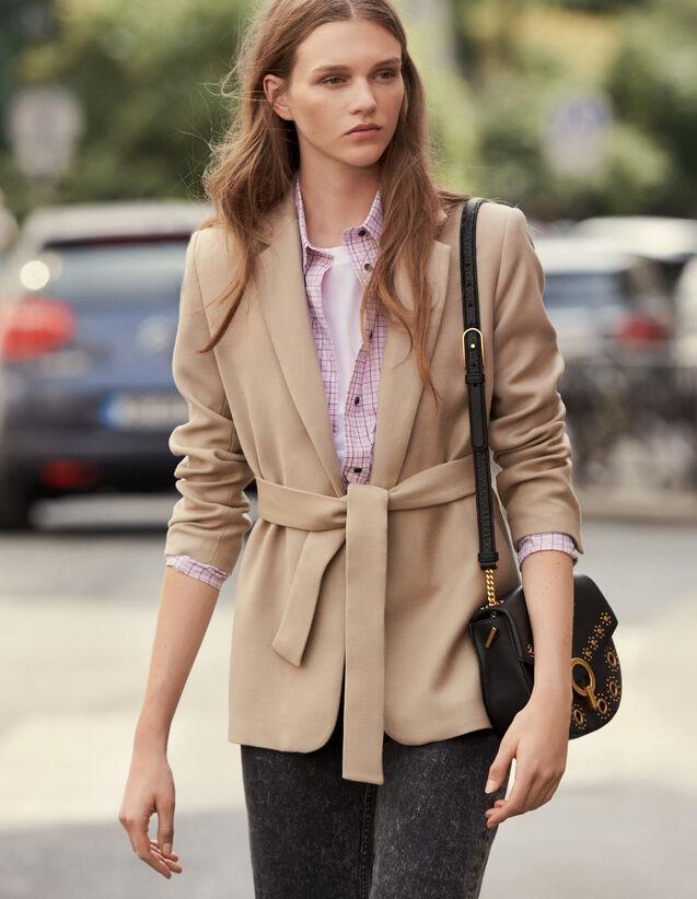 Giacca Lunga Con Cintura In Lana : Cappotti colore Beige