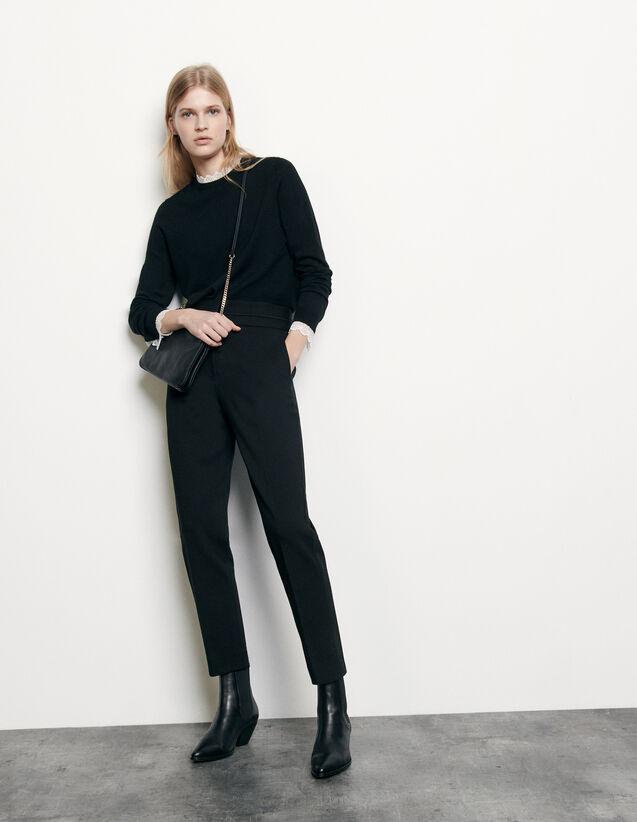 Pantaloni classici a vita alta : Pantaloni colore Nero