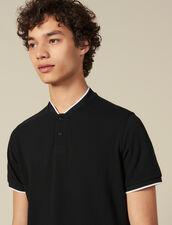 Polo à l'encolure contrastée : T-shirts & Polos couleur Noir
