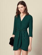 Abito con spalline e cintura a strass : Abiti colore Verde