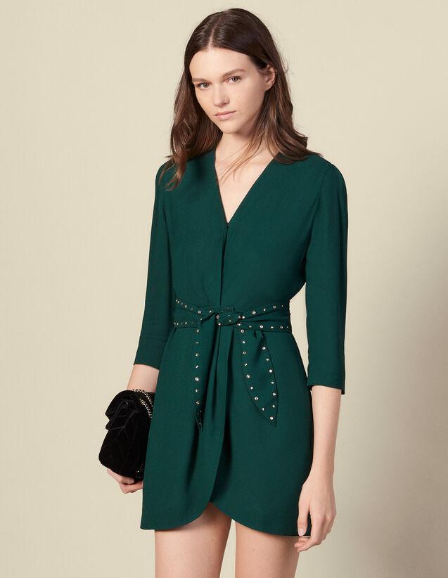 Robe épaulée avec ceinture strassée : Robes couleur Vert