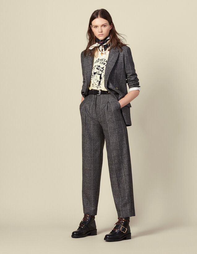 Pantaloni ampi a quadri : Pantaloni colore Grigio