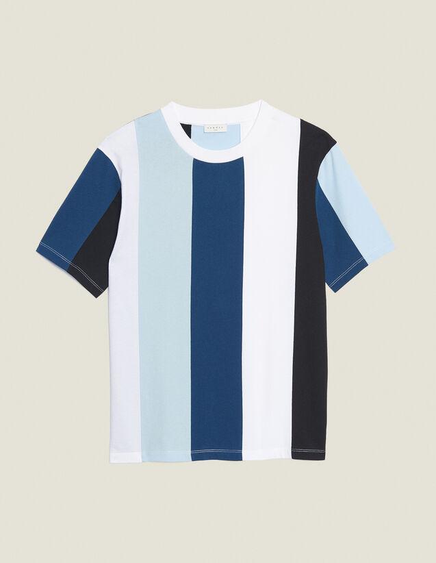 T-Shirt A Righe Larghe : Magliette & Polo colore Blu