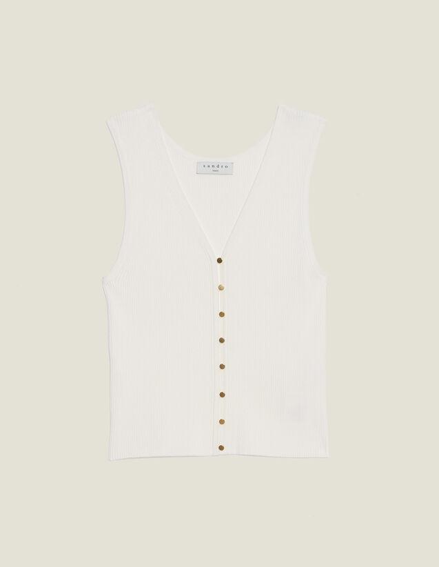 Top In Maglia Con Bottoni Gioiello : Top & Camicie colore Bianco