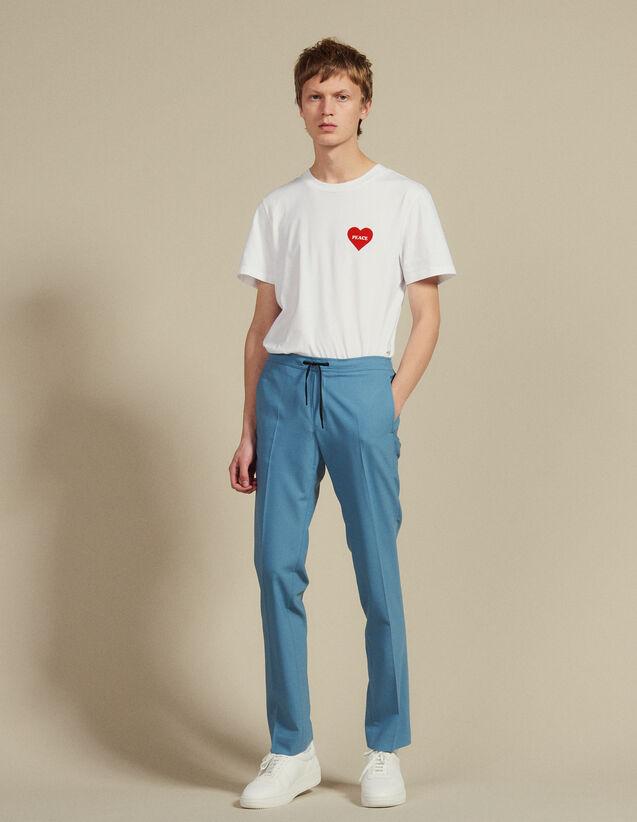 Pantaloni Da Città Con Cordoncino : Pantaloni & Short colore Blu acciaio