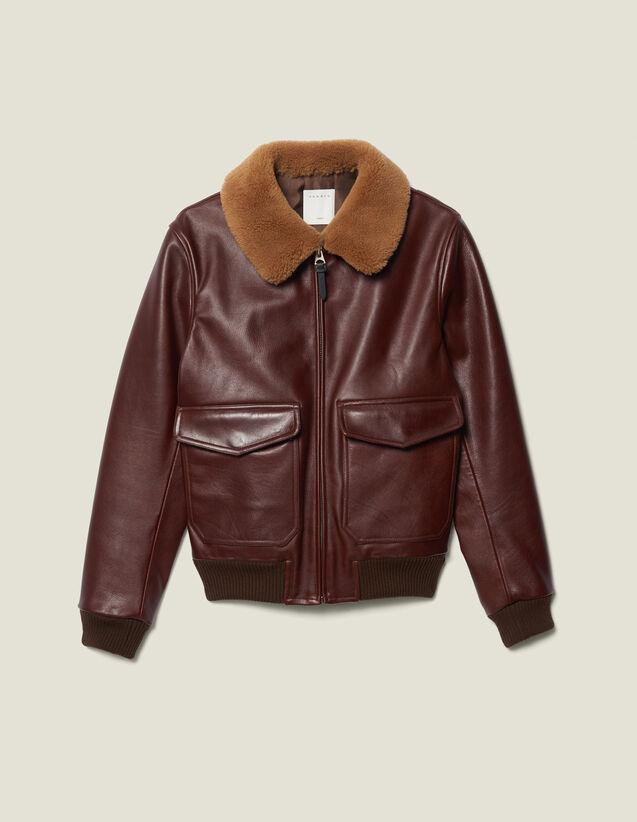 Flight Jacket In Pelle Collo In Montone : Giubbotti & Giacche colore Bordeaux