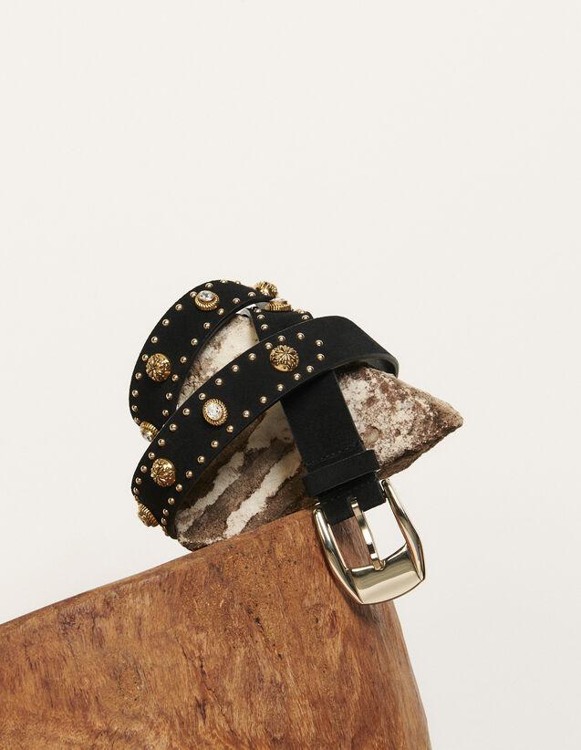 Cintura ornata da rivetti e strass : Cinture colore Nero