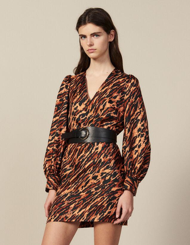 Robe Courte Imprimée En Soie : Robes couleur Fauve