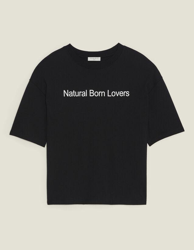 T-Shirt Oversize Con Scritta A Contrasto : Magliette colore Nero