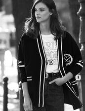 Cardigan-cappotto a righe a contrasto : Maglieria & Cardigan colore Nero