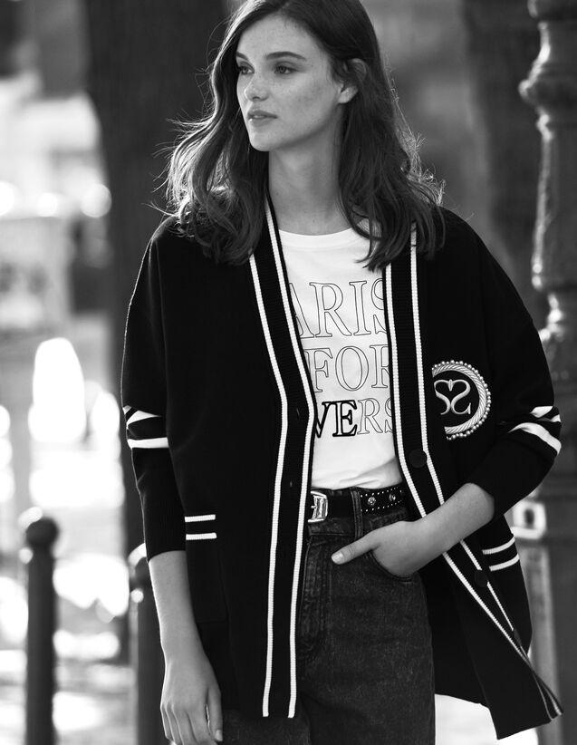 Cardi-Coat À Rayures Contrastantes : Pulls & Cardigans couleur Noir