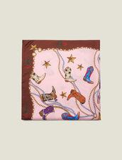 Foulard in seta con stampa stivali : L'intera collezione Invernale colore Rosa