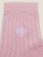 Chaussettes En Coton Avec Broderie : null couleur Rose pastel