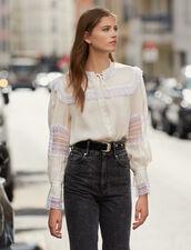 Camicia Ornata Di Pizzo : Top & Camicie colore Ecru
