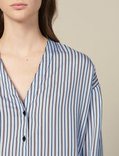 Chemisier En Popeline Rayée : Tops & Chemises couleur Ciel