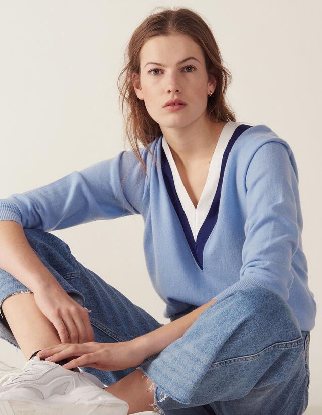 Pullover Con Scollo A V A Coste Bicolore : Maglieria & Cardigan colore Sky Blue
