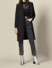 Cappotto lungo aderente in lana : Cappotti colore Nero