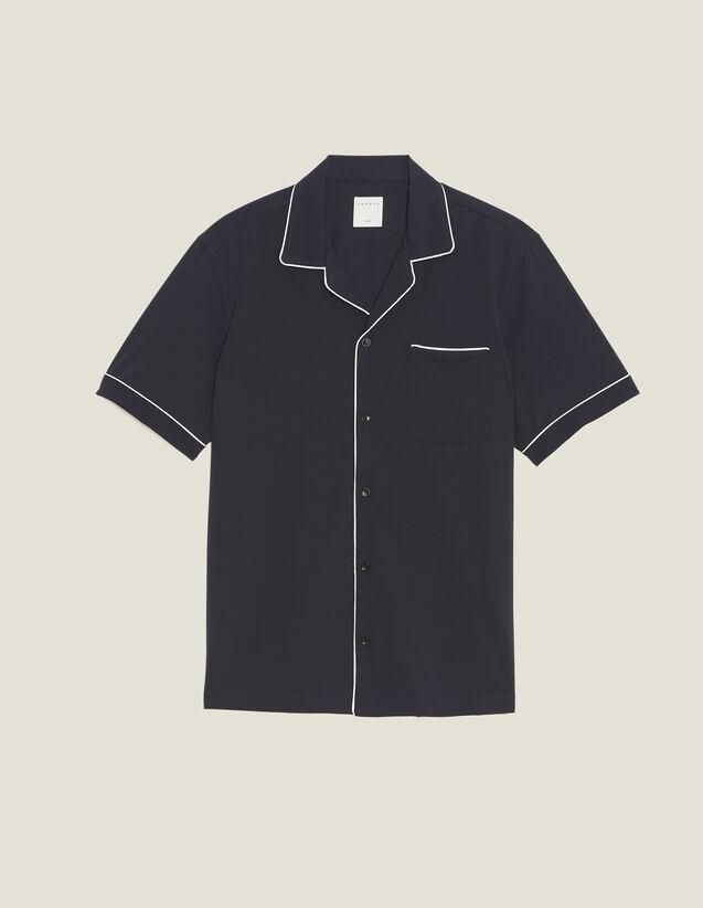 Camicia Stile Pigiama Con Bordo : SOLDES-CH-HSelection-PAP&ACCESS-2DEM colore Blu Marino