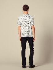 T-Shirt Imprimé Papier Journal : T-shirts & Polos couleur BLANC/NOIR