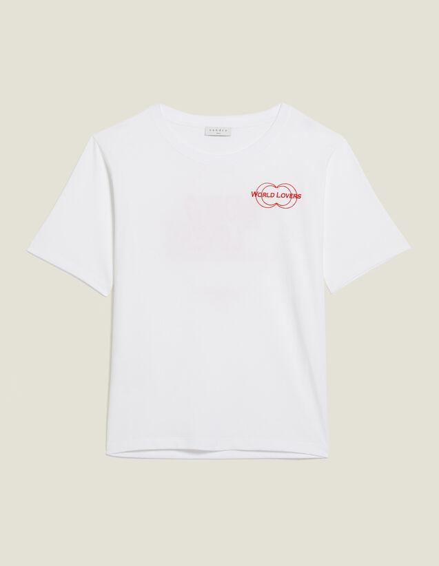 T-Shirt Con Scritta Floccata : Magliette colore Bianco