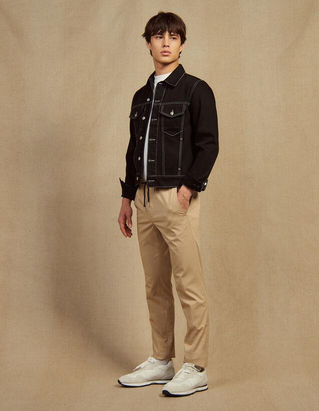 Pantalon Taille Élastique En Coton : Sélection Last Chance couleur Beige