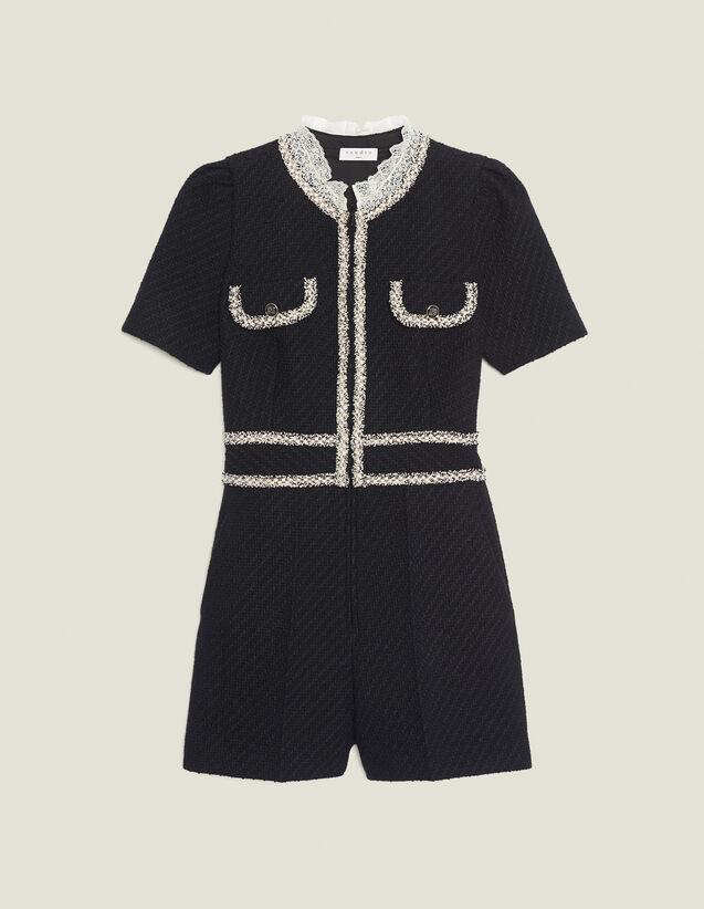 Tuta pantalone in tweed : Tute colore Nero