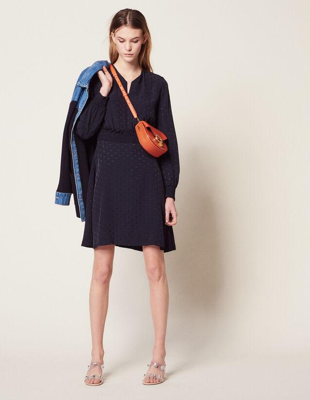 Robe Courte En Jacquard : null couleur Marine