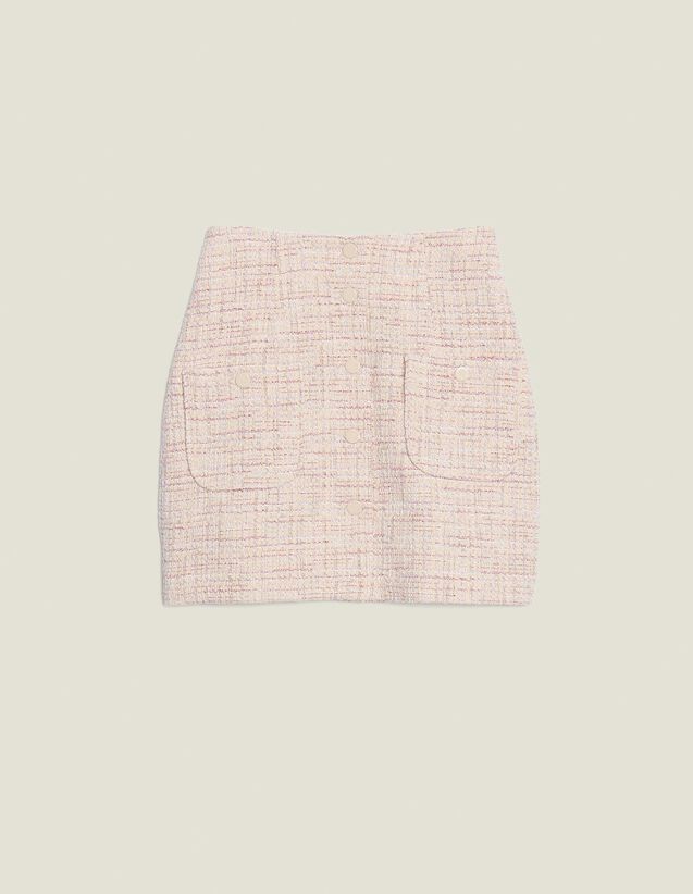 Gonna Corta In Tweed : null colore Rosa
